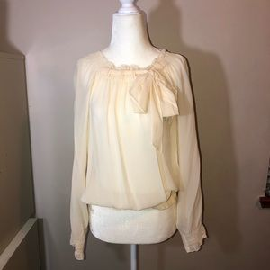 THE LIMITED Ivory Silk Bell Sleeve Blouse Sz L